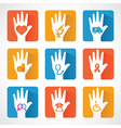 Medical icons and design with helping hand vector image