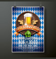 oktoberfest poster with fresh lager beer on blue vector image vector image