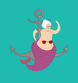 old mermaid and anchor mythical underwater vector image