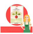 pack of radish seeds icon vector image