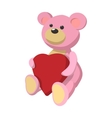 Pink teddy bear with heart cartoon icon vector image vector image
