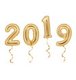 realistic golden balloons decoration 2019 happy vector image