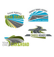 road trip and car tour icon set for travel design vector image vector image