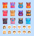 schoolbags or backpacks stationery and pupils vector image