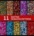 seamless patterns with knitted sweater texture vector image