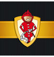 Service firefighter man cartoon Rescue shield vector image