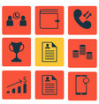 set of 9 human resources icons includes phone vector image vector image