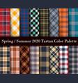 spring summer 2020 tartan color palette vector image vector image