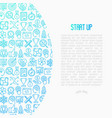 start up concept with thin line icons vector image vector image