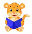 tiger reading book vector image vector image