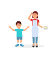 tired mother and her son parenting stress vector image