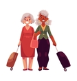 Two old senior elder women with suitcases in vector image