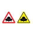 Warning sign of a UFO Hazard yellow sign flying vector image