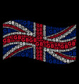 waving great britain flag pattern of gb texts vector image vector image