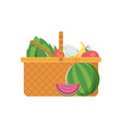 wicker picnic vegetable basket vector image