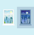 windows with day and night city landscapes vector image vector image