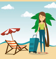woman in the beach character vector image