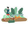 young man jogging in park with his dog vector image