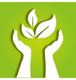 hands caring leaves vector image