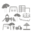 Icons set of different playground equipments vector image