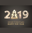 2019 merry christmas and happy new year vector image vector image