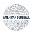 American football banner with line icons of ball vector image vector image