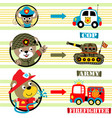 animals cartoon profession with various vehicle vector image vector image