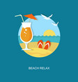 beach relax flat banner with cocktail vector image