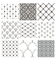 black decorative seamless patterns set vector image vector image