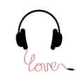 Black headphones Red cord in shape of word love vector image vector image