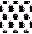 black sitting cat head with paw print and little vector image vector image