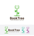book tree logo design vector image vector image
