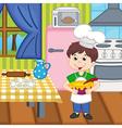 boy chef preparing lunch vector image vector image