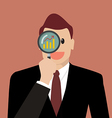Businessman looking for business future through a vector image