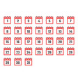 calendar dates flat icon set from 1 to 31