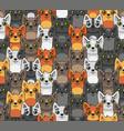 cat seamless pattern cute cartoon style vector image vector image