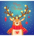 Christmas card Cute cartoon deer with garlands on vector image vector image