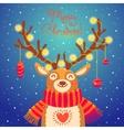 christmas card cute cartoon deer with garlands vector image vector image
