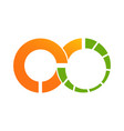 circle orange infinity datas logo vector image vector image