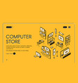 computer store isometric landing page empty mall vector image vector image