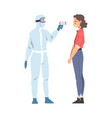doctor measuring temperature woman with vector image