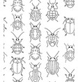 embroidery bugs seamless pattern on white vector image vector image