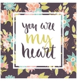 floral card with romantic phrase vector image vector image