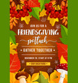 friendsgiving potluck party autumn leaves vector image