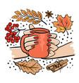 girl holding mug tea in her hands vector image vector image