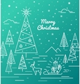 green christmas card with christmas trees gifts on vector image vector image