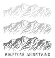 Halftone mountain range set vector image vector image