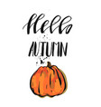 hand drawn vecror with orange pumpkin vector image