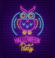 happy halloween party neon sign bright banner vector image vector image