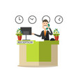 hotel receptionist in flat vector image